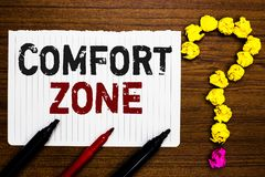 Handwriting text writing Comfort Zone. Concept meaning A situation where one feels safe or at ease have Control Paper markers crum. Pled papers forming question stock photography