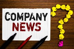 Handwriting text writing Company News. Concept meaning Latest Information and happening on a business Corporate Report Paper marke. Rs crumpled papers forming royalty free stock photos