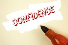 Handwriting text writing Confidence. Concept meaning Never ever doubting your worth, inspire and transform yourself written on Pai. Handwriting text writing royalty free stock image