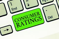 Handwriting text writing Consumer Ratings. Concept meaning feedback given by clients after buying product or service.  royalty free stock images