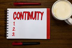 Handwriting text writing Continuity. Concept meaning Unbroken consistent existence operation of something over time Open stock photo
