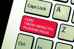 Handwriting text writing Copd Chronic Obstructive Pulmonary Disease. Concept meaning Lung disease Difficulty to breath.  royalty free stock photos