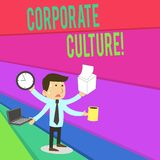 Handwriting text writing Corporate Culture. Concept meaning Beliefs and ideas that a company has Shared values Stressed. Handwriting text writing Corporate royalty free illustration