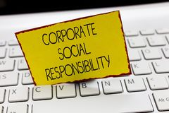 Handwriting text writing Corporate Social Responsibility. Concept meaning Internal corporate policy and Ethic strategy.  royalty free stock photo