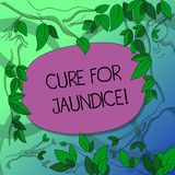 Handwriting text writing Cure For Jaundice. Concept meaning often disappears on its own within two or three weeks Tree. Branches Scattered with Leaves stock illustration
