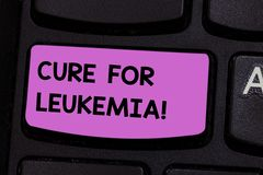 Handwriting text writing Cure For Leukemia. Concept meaning transplantation high doses of chemotherapy or radiation. Keyboard key Intention to create computer royalty free stock image
