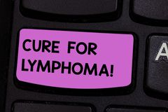 Handwriting text writing Cure For Lymphoma. Concept meaning restore bone marrow by dose chemotherapy radiation therapy. Keyboard key Intention to create royalty free stock image