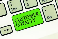 Handwriting text writing Customer Loyalty. Concept meaning result of consistently positive emotional experience.  royalty free stock photography