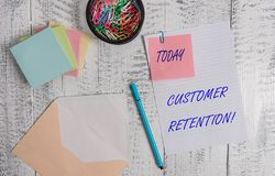Handwriting text writing Customer Retention. Concept meaning Keeping loyal customers Retain analysisy as possible. Handwriting text writing Customer Retention royalty free stock image