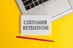 Handwriting text writing Customer Retention. Concept meaning Keeping loyal customers Retain analysisy as possible Top. Handwriting text writing Customer royalty free stock photos