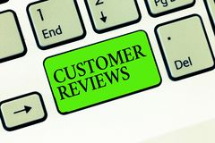 Handwriting text writing Customer Reviews. Concept meaning review of product or service made by client who has used.  stock image
