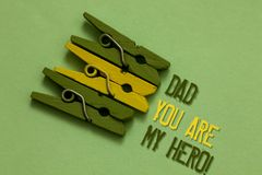 Handwriting text writing Dad You Are My Hero. Concept meaning Admiration for your father love feelings compliment Olive ground lai. D on paperclip in front some royalty free stock photography