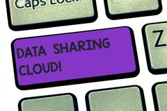 Handwriting text writing Data Sharing Cloud. Concept meaning using internet technologies to share files between users. Keyboard key Intention to create computer vector illustration
