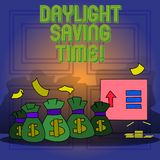 Handwriting text writing Daylight Saving Time. Concept meaning advancing clocks during summer to save electricity. Handwriting text writing Daylight Saving Time royalty free illustration