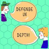 Handwriting text writing Defense In Depth. Concept meaning arrangement defensive lines or fortifications defend others. Hand Drawn Man and Wo analysis Talking royalty free illustration