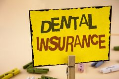 Handwriting text writing Dental Insurance. Concept meaning Dentist healthcare provision coverage plans claims benefit written on Y. Handwriting text writing Stock Photos