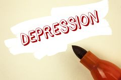 Handwriting text writing Depression. Concept meaning Work stress with sleepless nights having anxiety disorder written on Painted. Handwriting text writing stock photo