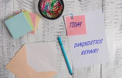 Handwriting text writing Diagnostics Repair. Concept meaning A program or routine that helps a user to identify errors. Handwriting text writing Diagnostics royalty free stock photos