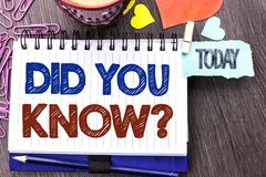 Handwriting text writing Did You Know Question. Concept meaning Were Informed Learn something new Give Information written on Note. Handwriting text writing Did stock photography