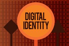 Handwriting text writing Digital Identity. Concept meaning information on entity used by computer to represent agent.  royalty free illustration