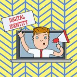 Handwriting text writing Digital Identity. Concept meaning information on entity used by computer to represent agent Man. Handwriting text writing Digital stock illustration