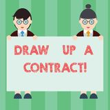 Handwriting text writing Draw Up A Contract. Concept meaning Write a business agreement cooperation legal papers Male. And Female in Uniform Standing Holding stock illustration