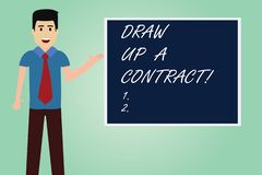 Handwriting text writing Draw Up A Contract. Concept meaning Write a business agreement cooperation legal papers Man. With Tie Standing Talking Presenting Blank stock illustration