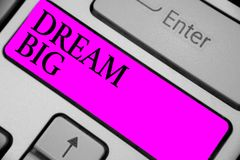 Handwriting text writing Dream Big. Concept meaning To think of something high value that you want to achieve Keyboard purple key. Intention create computer royalty free stock photos