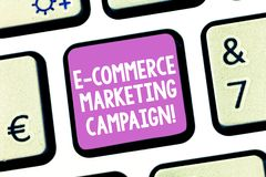 Handwriting text writing E Commerce Marketing Campaign. Concept meaning driving awareness of the brand though online. Keyboard key Intention to create computer stock images