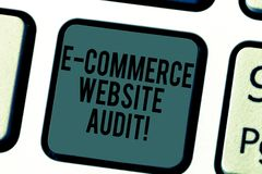 Handwriting text writing E Commerce Website Audit. Concept meaning evaluating the search engine level of visibility. Keyboard key Intention to create computer royalty free stock images