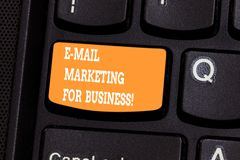 Handwriting text writing E Mail Marketing For Business. Concept meaning Mailing as advertising campaign strategies. Keyboard key Intention to create computer stock images