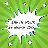 Handwriting text writing Earth Hour 24 March 2019. Concept meaning Celebrate Sustainability Save the Planet Lights Off.  royalty free illustration