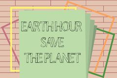 Handwriting text writing Earth Hour Save The Planet. Concept meaning The Lights Off EventMovement by WWF every March.  vector illustration