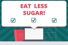 Handwriting text writing Eat Less Sugar. Concept meaning Reduction of eating sweets Diabetic control dieting. Handwriting text writing Eat Less Sugar. Concept vector illustration