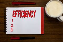 Handwriting text writing Efficiency. Concept meaning State or quality of being efficient Good perforanalysisce. Improvement Open notebook markers inspiration stock image