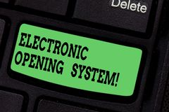Handwriting text writing Electronic Opening System. Concept meaning Electronic access control system Keycards Keyboard key. Intention to create computer message royalty free stock images
