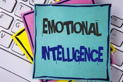 Handwriting text writing Emotional Intelligence. Concept meaning Capacity to control and be aware of personal emotions written on. Handwriting text writing stock photography