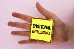 Handwriting text writing Emotional Intelligence. Concept meaning Capacity to control and be aware of personal emotions written on. Handwriting text writing royalty free stock images