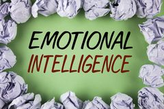 Handwriting text writing Emotional Intelligence. Concept meaning Capacity to control and be aware of personal emotions written on. Handwriting text writing stock photos