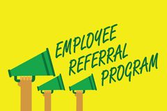Handwriting text writing Employee Referral Program. Concept meaning employees recommend qualified friends relatives Hands holding. Megaphones loudspeakers Stock Photo
