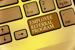 Handwriting text writing Employee Referral Program. Concept meaning employees recommend qualified friends relatives Keyboard brown. Key Intention create royalty free stock photography