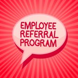 Handwriting text writing Employee Referral Program. Concept meaning employees recommend qualified friends relatives Pink speech bu. Bble message reminder rays Stock Photography