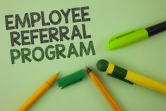 Handwriting text writing Employee Referral Program. Concept meaning Recommend right jobseeker share vacant job post written on Pla. Handwriting text writing stock photography