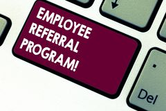 Handwriting text writing Employee Referral Program. Concept meaning strategy work encourage employers through prizes. Keyboard key Intention to create computer stock images