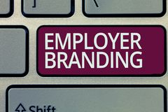Handwriting text writing Employer Branding. Concept meaning Process of promoting a company Building Reputation.  royalty free stock images