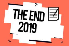Handwriting text writing The End 2019. Concept meaning Happy new year final days of 2018 Resolutions celebration.  royalty free illustration