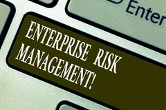 Handwriting text writing Enterprise Risk Management. Concept meaning analysisage risks and seize business opportunities. Keyboard key Intention to create stock photos