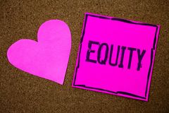 Handwriting text writing Equity. Concept meaning Value of a company divided into equal parts owned by shareholders Cork background. Pink paper papers ideas royalty free stock photos