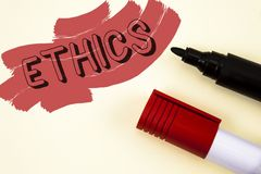 Handwriting text writing Ethics. Concept meaning Maintaining equality balance among others having moral principles written on Pain. Handwriting text writing Royalty Free Stock Images