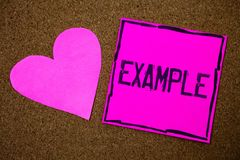 Handwriting text writing Example. Concept meaning Illustration Sample Model to follow Guide Explanation For instance Cork backgrou. Nd pink paper papers ideas royalty free stock images